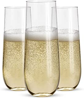 24 Stemless Plastic Champagne Flutes - 9 Oz Plastic Champagne Glasses   Clear Plastic Unbreakable Toasting Glasses   Shatt...