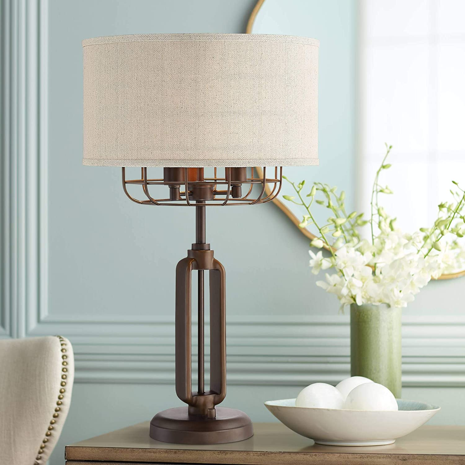 Ranking TOP20 Tremont Modern Rustic Farmhouse Table Cag Bronze New Orleans Mall Iron Lamp Brown