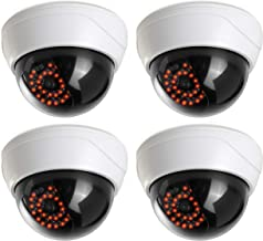 (4 Pack) Fake Security Camera CCTV Fake Dome Camera with Realistic Look Recording Red LED Light Indoor and Outdoor Use, for Homes & Business- by Armo
