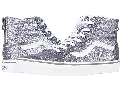 Vans Kids SK8-Hi Zip (Big Kid) ((Glitter) Pewter/True White) Girls Shoes