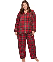LAUREN Ralph Lauren - Plus Size Folded Brushed Twill Notch Collar Pajama