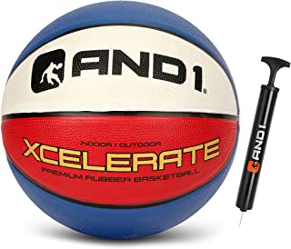 """AND1 Xcelerate Rubber Basketball (Inflated) OR (Deflated w/Pump Included): Official Regulation Size 7 (29.5"""") Streetball, ..."""