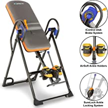 EXERPEUTIC 975SL All Inclusive Heavy Duty 350 lbs Capacity Inversion Table with Air Soft Ankle Cushions, Surelock and iControl Systems