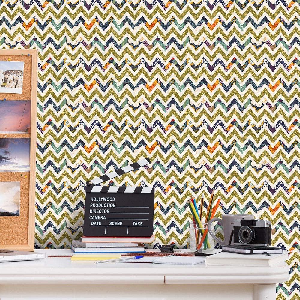 Buy Self Adhesive Wallpaper Paper For Wall Stripes Vinyl Wallpaper Peel Stick Wallpaper Splicing Wavy Stripes Wallpaper Shelf Paper For Wall Decal Online In Australia B085wvl22g