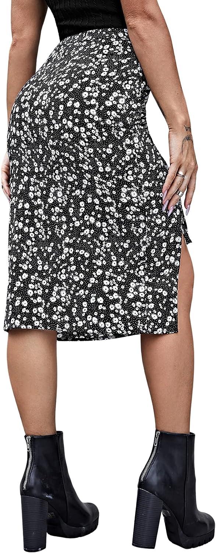 SheIn Women's Split Thigh Elastic Waist Side Drawstring Printed Skirt