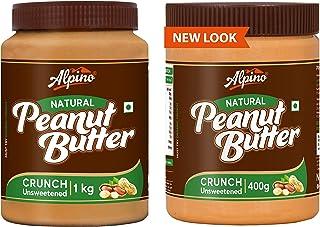 Alpino Natural Peanut Butter Crunch 1 KG (Unsweetened / Gluten Free / Non-GMO / Vegan) + Alpino Natural Peanut Butter Crun...