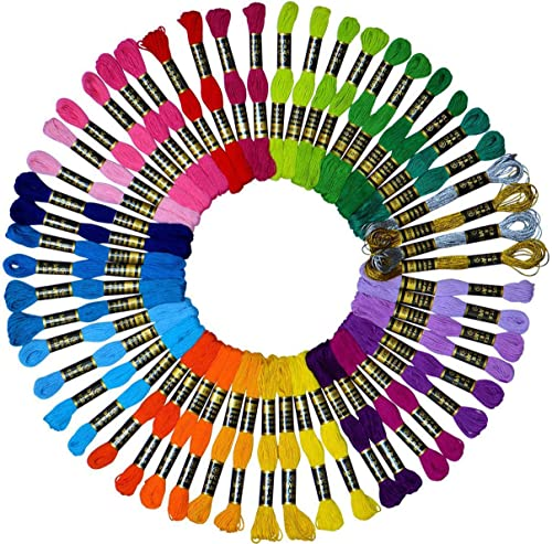 Embroidery Floss 54 skeins Crossstitch Thread - Bracelets String - 50Pcs Embroidery Thread and Free Set of 4pcs Metal...