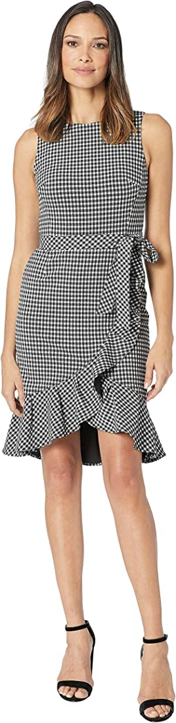 Gingham Ruffle Hem Dress with Self Tie