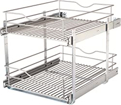 Knape & Vogt DBLMUB-17-R-FN Double-Tier Multi Pullout 17 in. Wire Basket, Frosted Nickel