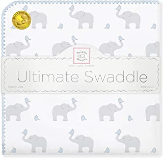 SwaddleDesigns Ultimate Swaddle, X-Large Receiving Blanket, Made in USA Premium Cotton Flannel, Elephant and Pastel Blue Chickies (Mom's Choice Award Winner)