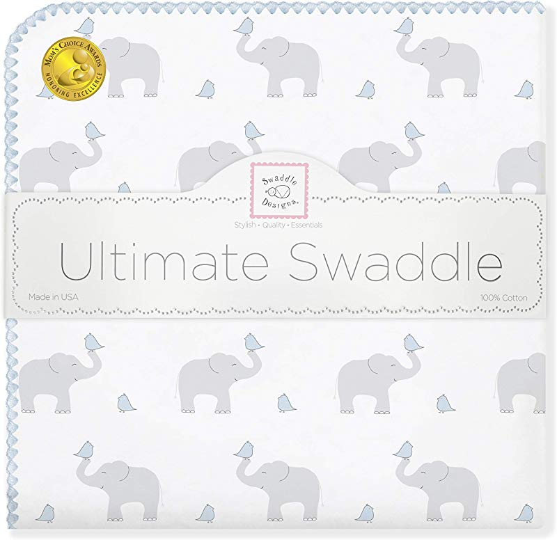 SwaddleDesigns Ultimate Swaddle X Large Receiving Blanket Made In USA Premium Cotton Flannel Elephant And Pastel Blue Chickies Mom S Choice Award Winner