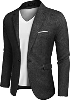 COOFANDY Men's sports coats, casual blazer jackets, leisure suit, light jackets, one button, black, S