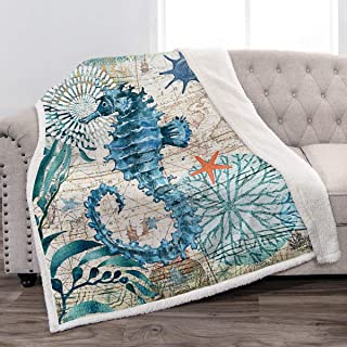 Jekeno Sea Horse Sherpa Blanket Smooth Soft Ocean Style Print Throw Blanket for Sofa Chair Bed Office Gift 50x60