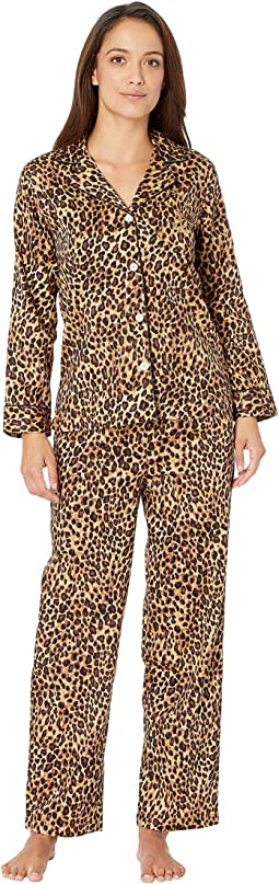 Petite Sateen Long Sleeve Classic Notch Collar Pajama Set
