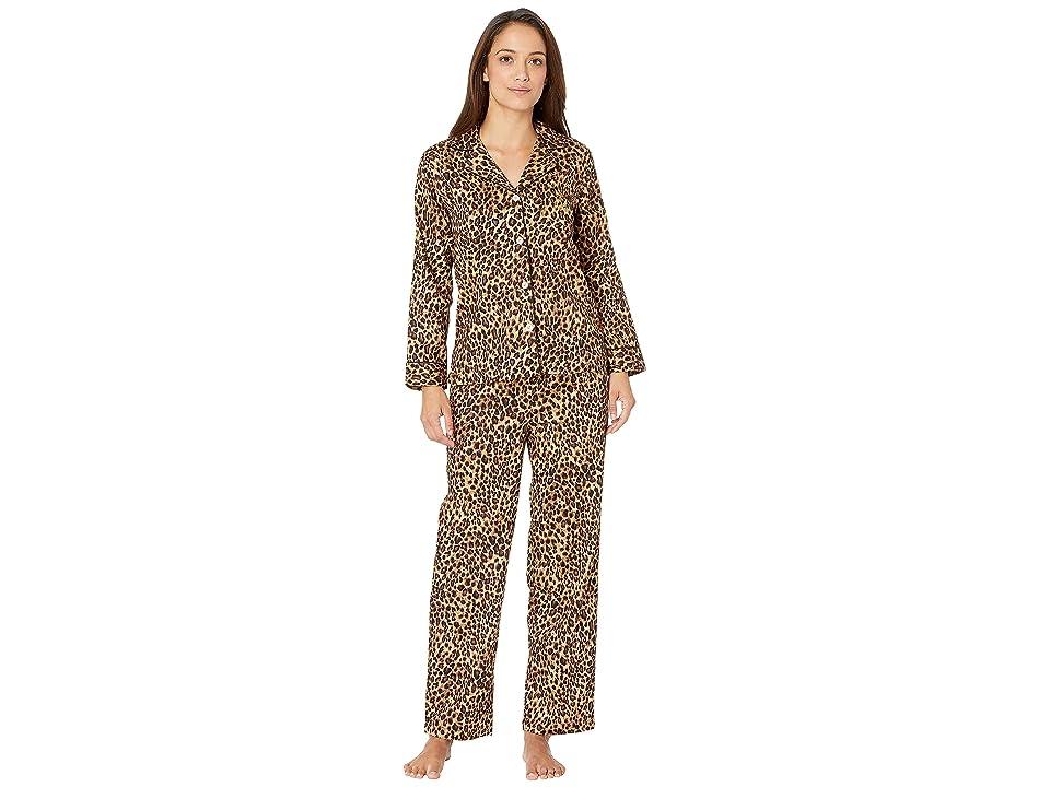 LAUREN Ralph Lauren Petite Sateen Long Sleeve Classic Notch Collar Pajama Set (Leopard Print) Women
