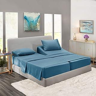 Nestl Deep Pocket Split King Sheets: 5 Piece Split King Size Bed Sheets with Fitted..