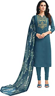 Rajnandini Women's Teal chanderi silk Embroidered Semi-Stitched Salwar Suit Material With Printed Dupatta (Free Size)