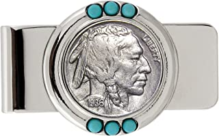 Coin Money Clip - Buffalo Nickel | Brass Moneyclip Layered in Silver-Tone Rhodium | Genuine Turquoise Stones | Holds Currency, Credit Cards, Cash | Genuine U.S. Coin | Certificate of Authenticity