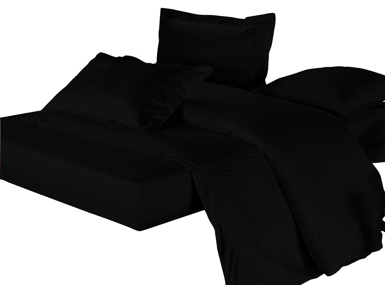 一杯床調和【AVA】洗い替え薄型 洋式布団カバーセット クイーン ブラック?ホテル仕様のサテン?防ダニ?ベッドシーツ 布団カバー ピロケース ボックスシーツ