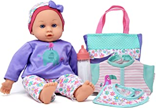 Soft Body Play Doll, Lifelike Realistic Newborn Set with Accessories for Toddlers, Girls and Boys, Includes 14 Inch Baby Doll, Diaper Bag, Milk Bottle, Clothes, Bib, Hat in Carrier