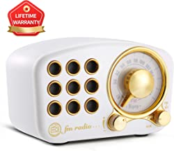 Portable Vintage Wireless Stereo Speaker,1920s Retro FM Radio, with Old Fashioned Classic Style, Strong Bass Enhancement, Loud Volume, Supports Bluetooth 4.2 Connection AUX TF Card MP3 Player White