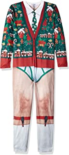 Faux Real Men's 3D Photo-Realistic Ugly Christmas Long Sleeve and Pant Jumpsuit