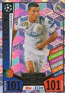 MATCH ATTAX CHAMPIONS LEAGUE 17/18 CRISTIANO RONALDO 100 CLUB TRADING CARD - REAL MADRID 17/18