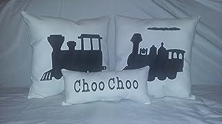 Train Accent Pillow Set Choo Choo Locomotive Engine Decor Decorative Bed Bedroom Child Kids Playroom