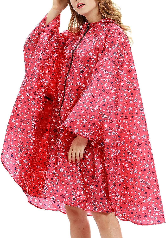 Qianzhi Womens Hooded Zip up Waterproof Active Outdoor Rain Jacket Raincoats Lightweight Poncho