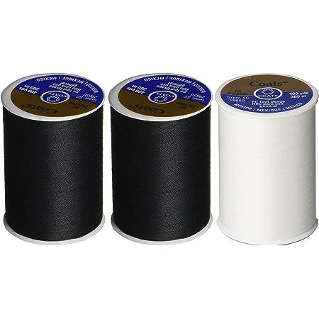3-Pack -2 BLACK & 1 WHITE - Coats & Clark Dual Duty All-Purpose Thread - 2 Black plus 1 White Spools, 400 Yard Spool each.