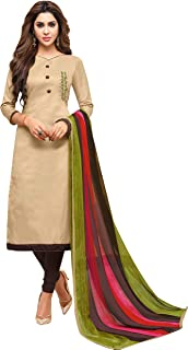 Viva N Diva Women's Embroidered Cotton Dress Material, Salwar Suit Dupatta