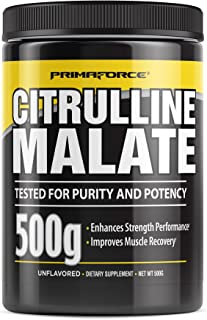 PrimaForce Citrulline Malate Powder Supplement – Enhances Strength Performance / Improves Muscle Recovery, 500 Grams