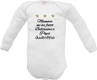 Body Juventus per neonato o neonata con ricamo frase da personalizzare per sesso e nome