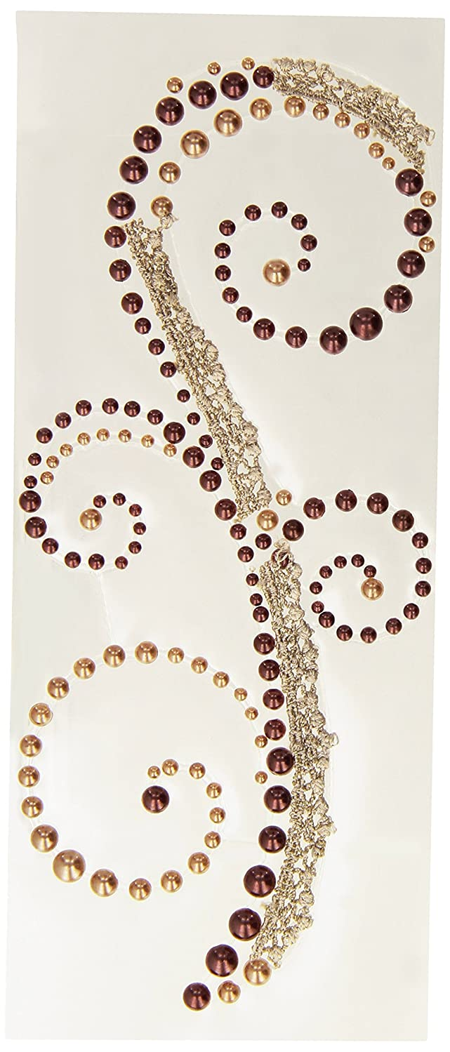 Prima 540890 3 by 7-Inch Say It in Pearls and Crystals Swirl with Lace, Vintage Brown