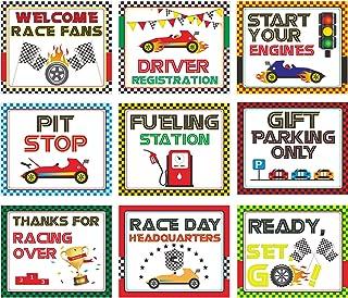 تزئینات مهمانی اتومبیل Blulu Racing ، 10-11.8 اینچ علائم مسابقه چند لایه ، علائم حزب مسابقه مضمون مسابقه ، برش مسابقه با 40 نقطه چسب نقطه (9 علامت مسابقه)