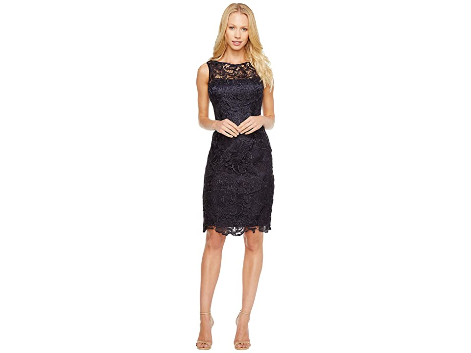 Adrianna Papell Illusion Neck Lace Dress (Navy) Women