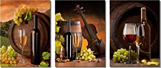 XOTOArt – Grapes Wine Canvas Wall Art Abstract Wine Cup and Bottle Modern Decorative Painting Artwork Still Life Pictures Decorations for Dining Room Kitchen Home Decor(12