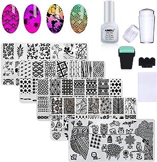 AIMEILI Nail Art Stamping Templates Manicure Tool Kit, 5pcs Nail Stamping Plates, 2 Stamper, 2 Scraper, 1 Latex Peel Off Tape