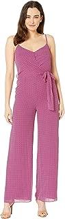 Michael Michael Kors Women's Georgette Dotted Wide Leg Jumpsuit, Deep Fuchsia/Garnet