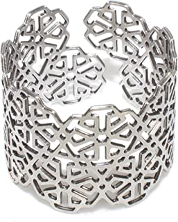 Adjustable Cuff Bracelet Moroccan Motif Bangle Laser Cut Arabeque Geometric Mashrabiya Pattern
