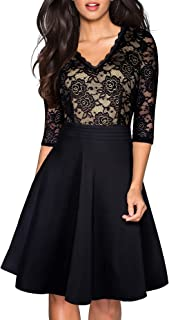 HOMEYEE Women's Chic V-Neck Lace Patchwork Flare Party Dress A062