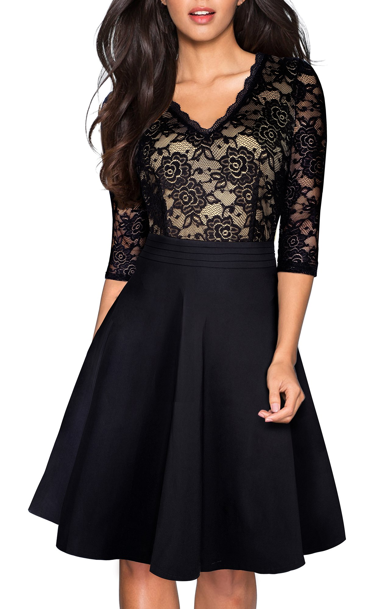 Party Dresses - Women's Chic V-Neck Lace Patchwork Flare Party Dress A062
