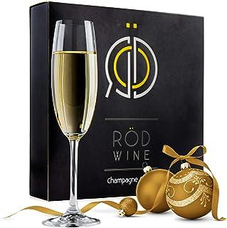 ROD Wine Juego de Copas de Champán - Copas de Boda en Cristal de Titanio sin Plomo, con una Taza Grande 220 ml Bodas, Fies...