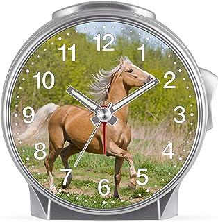Eurotime Barn flickor häst väckarklocka plastfodral och plastglas tyst väckarklocka tickar inte med lätt och upprepat larm...