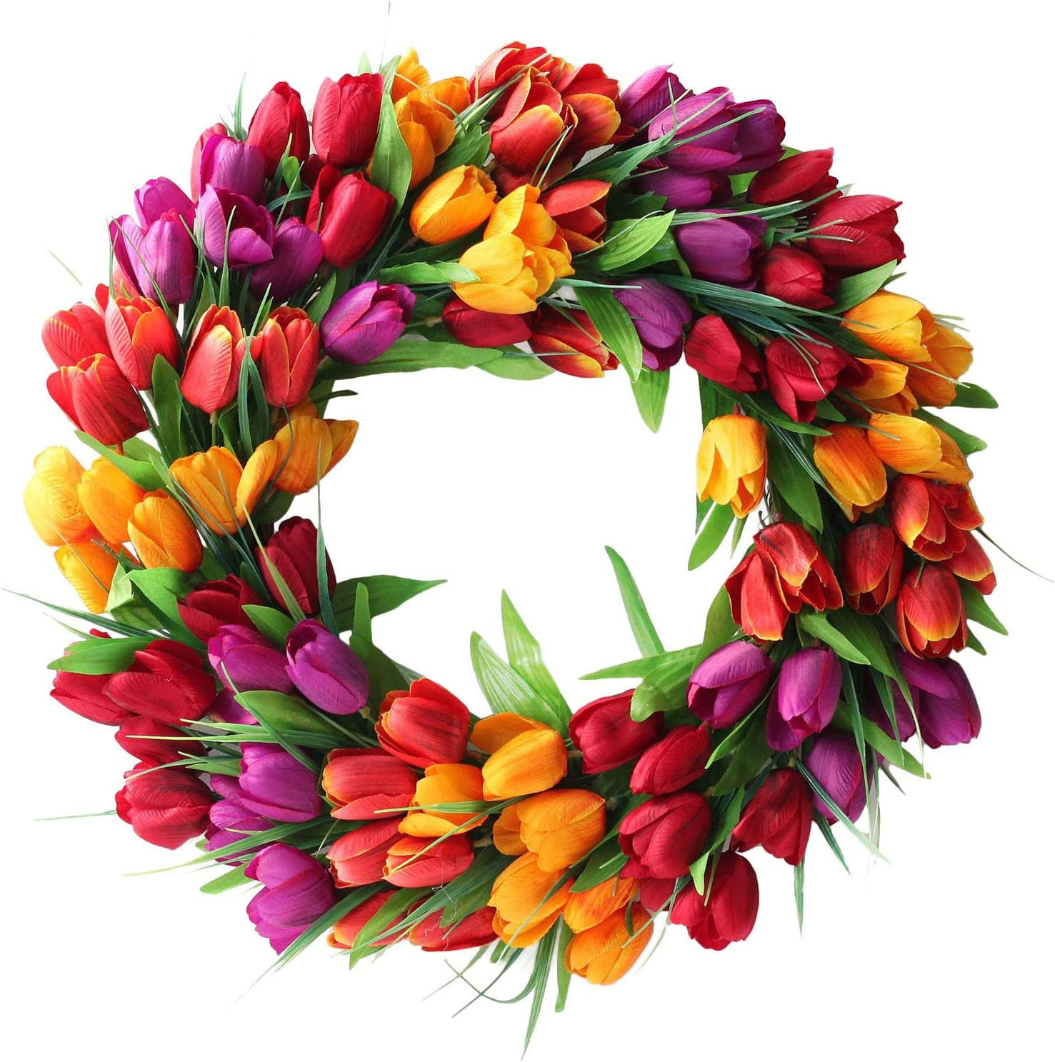 UNIE 20Inch Tulip Wreath Flower Wreaths for Front Door, Spring Silk Wreath with Green Leaves for Window Wall Wedding Valentines Day Decor