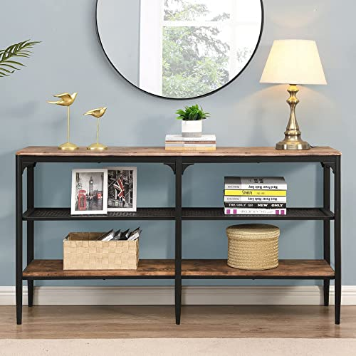 lowest O&K Furniture 3-Tier Industrial Entryway Console Table, Narrow Long Sofa Table with Storage Shelves, Hallway outlet online sale Hall Table wholesale for Living Room, Vintage Brown outlet sale