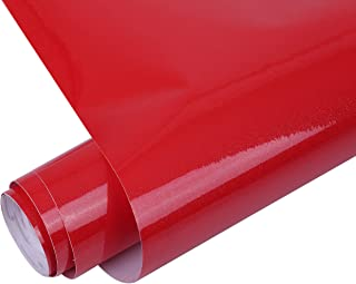 tomtask 壁紙シール リメイクシート ふすま紙 光沢 キッチン 風呂 壁 シール 60センチ 壁紙 ラメ (10m 赤 レッド)