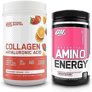 Optimum Nutrition Collagen Peptides Powder + Hyaluronic Acid: Strawberry Orange (28 Servings) with Amino Energy Green Tea,...