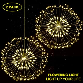 Hensun String, 8 Modes Dimmable with Remote Control, Battery Operated Hanging Starburst 198 LED IP44 Waterproof, Decorative Wire Lights for Parties, Warm White Pack