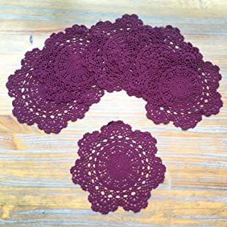6 Pcs Hand Crochet Lace Doilies Placemats 10 Inches Burgundy Handmade Round Tablecloths Cotton Coasters Cloth Ornament for Table Party Decoration (Wine Red)